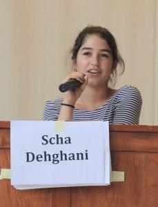 Schülersprecherin 2016/17 Scha Dehghani